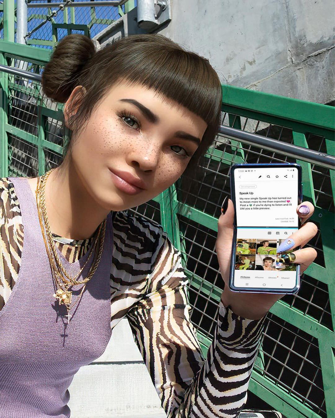 Miquela Sousa Virtual Influencer selling phones