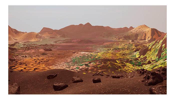 Alexandra Daisy Ginsberg ©, still frame from The Wilding Of Mars, (2019) for Agora Digital Art