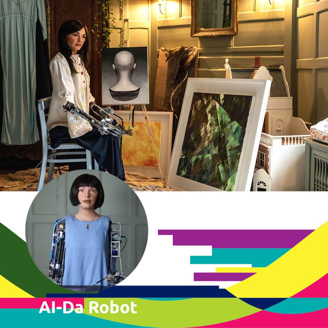 Women Digital Artist: AI-Da Robot for Agora Digital Art