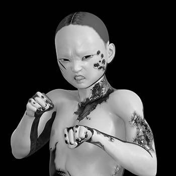 Wednesday Kim - Fight BW for Agora Digital Art